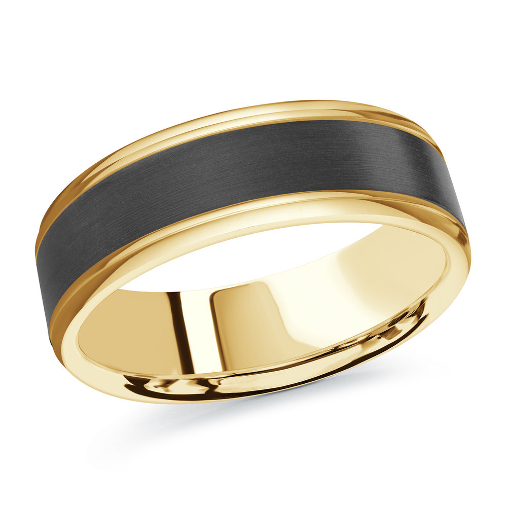 Yellow Gold Men's Ring Size 7mm (MRDA-095-7Y)