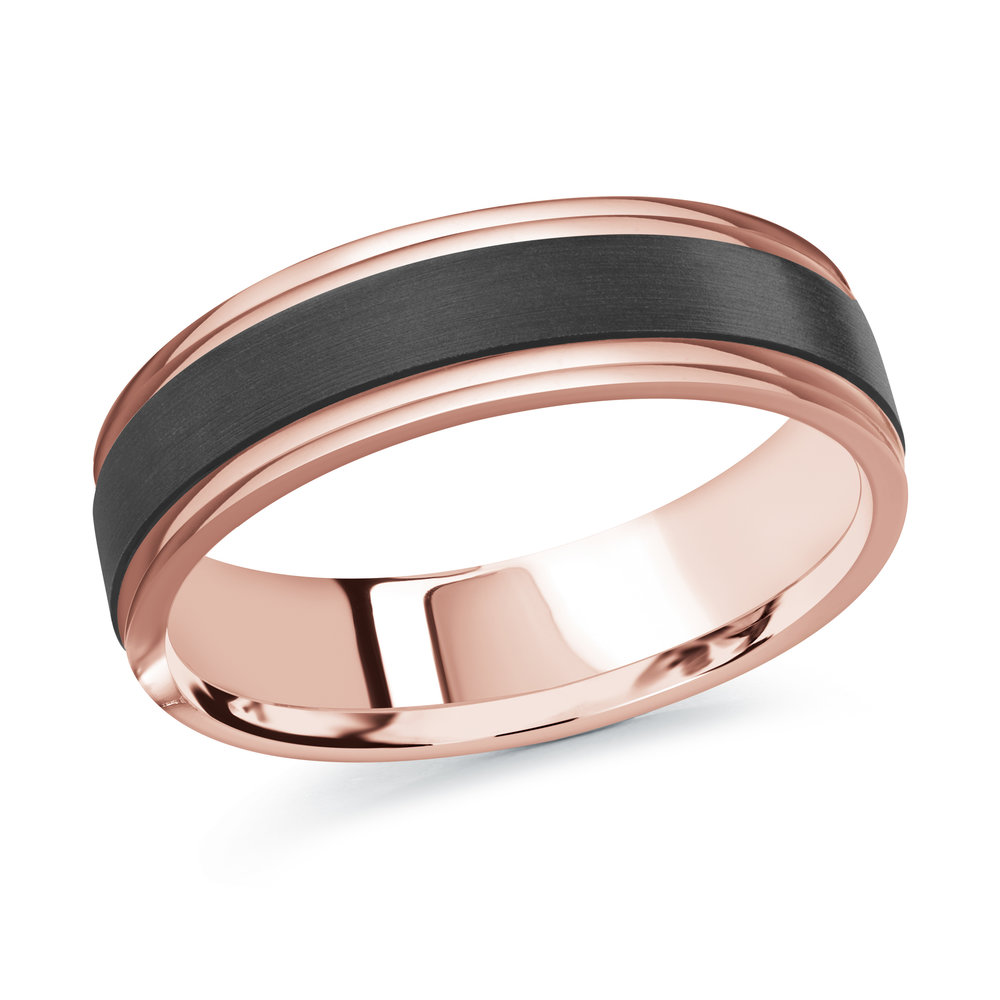 Pink Gold Men's Ring Size 6mm (MRDA-097-6P)