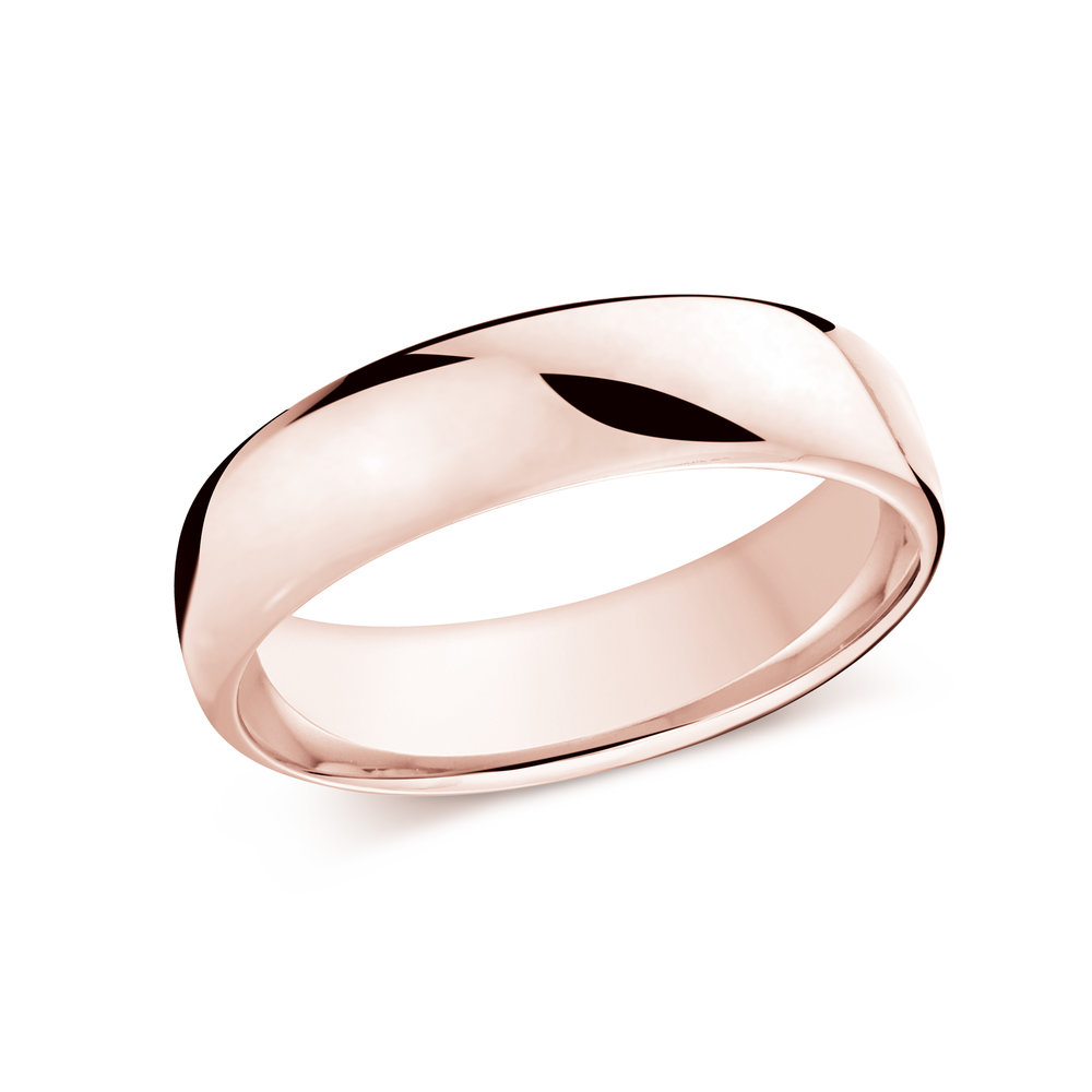 Pink Gold Men's Ring Size 6mm (J-308-06PG)