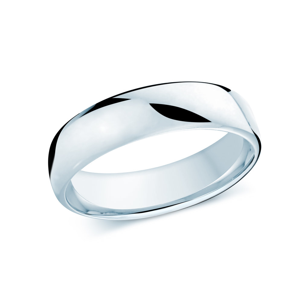 White Gold Men's Ring Size 6mm (J-308-06WG)