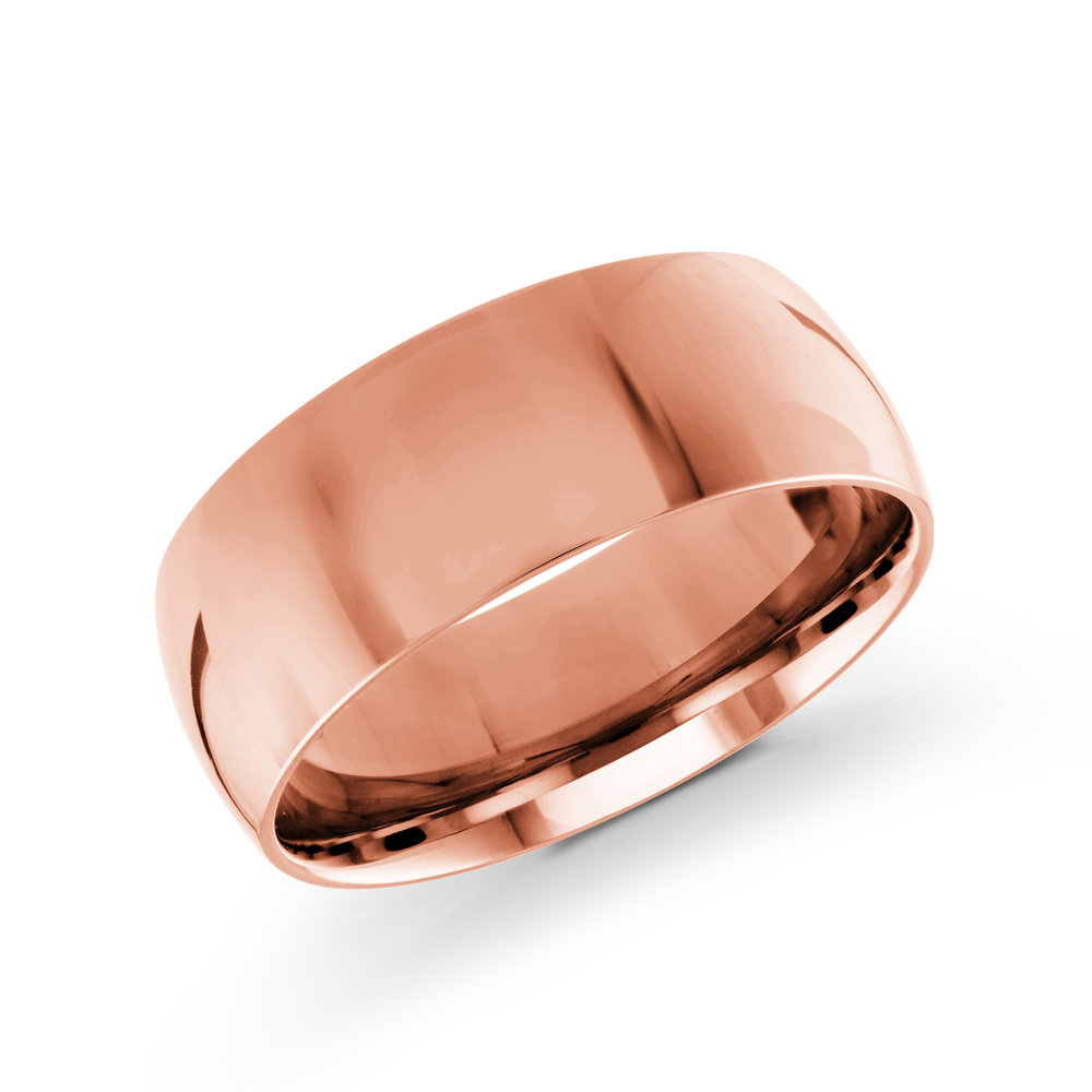 Pink Gold Men's Ring Size 8mm (J-217-08PG)