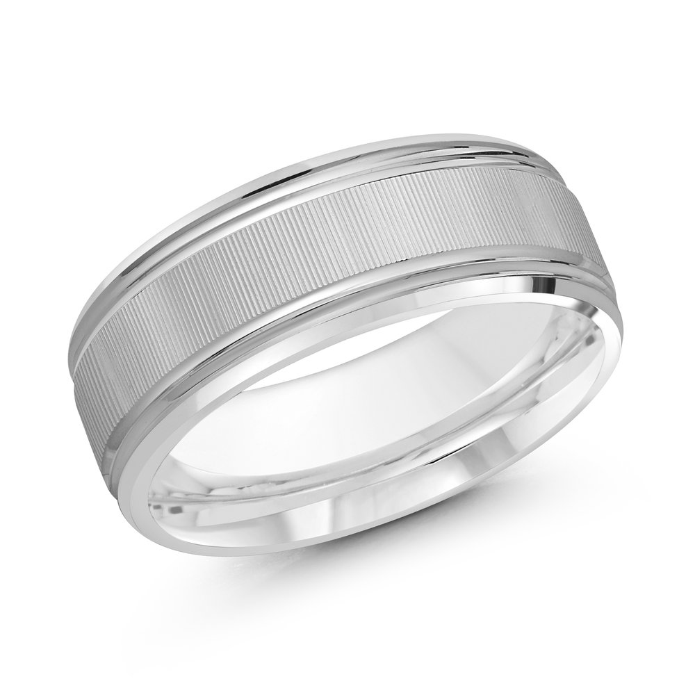 White Gold Men's Ring Size 8mm (LUX-167-8W)