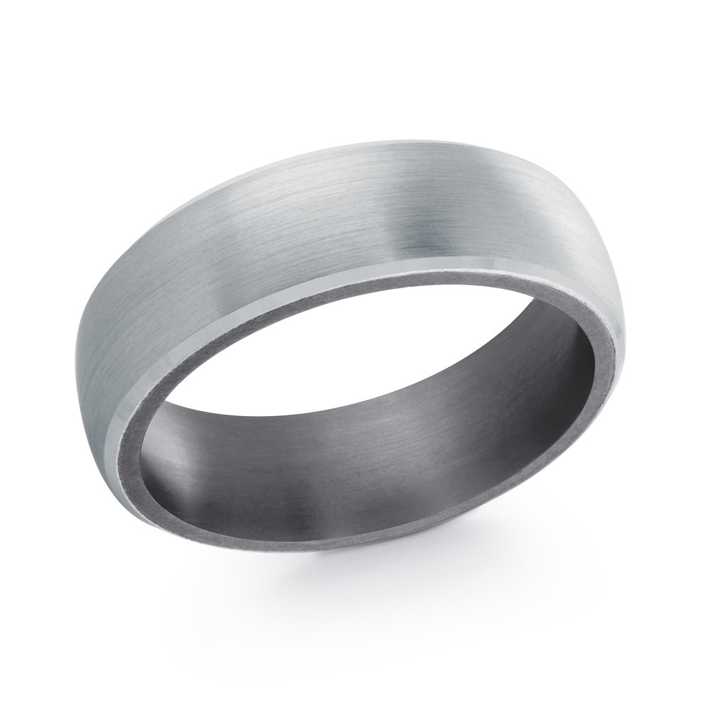 White Gold Men's Ring Size 7mm (TANT-017-7W)