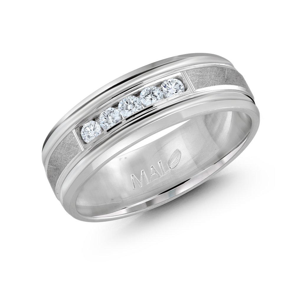 White Gold Men's Ring Size 7mm (JMD-471-7W25)