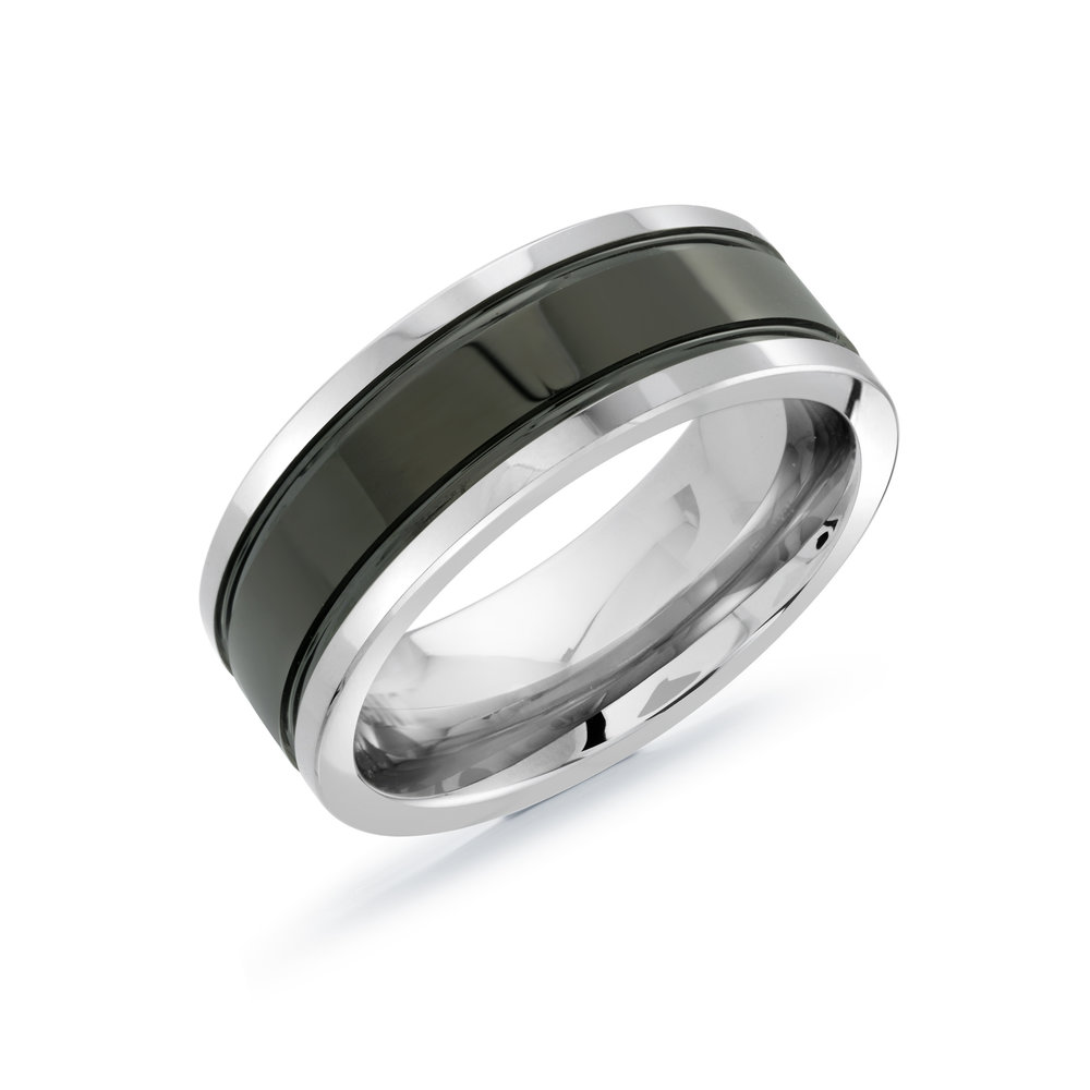 White/Black Gold Men's Ring Size 8mm (TG-001)