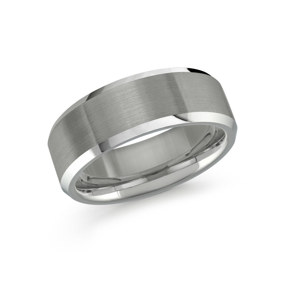 White Gold Men's Ring Size 8mm (TG-009)