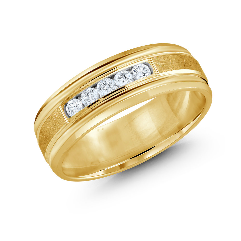 Yellow Gold Men's Ring Size 7mm (JMD-471-7Y25)