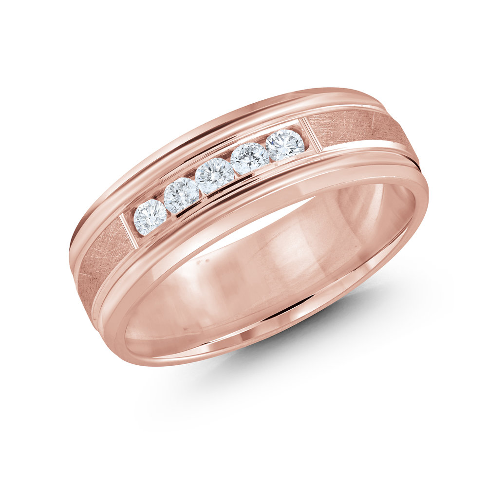 Pink Gold Men's Ring Size 7mm (JMD-471-7P25)
