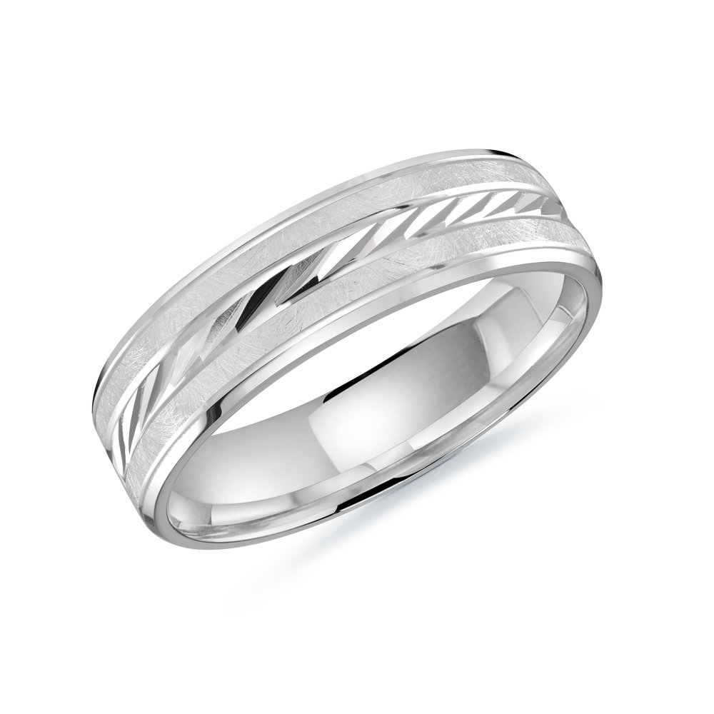 White Gold Men's Ring Size 6mm (LUX-206-6W)
