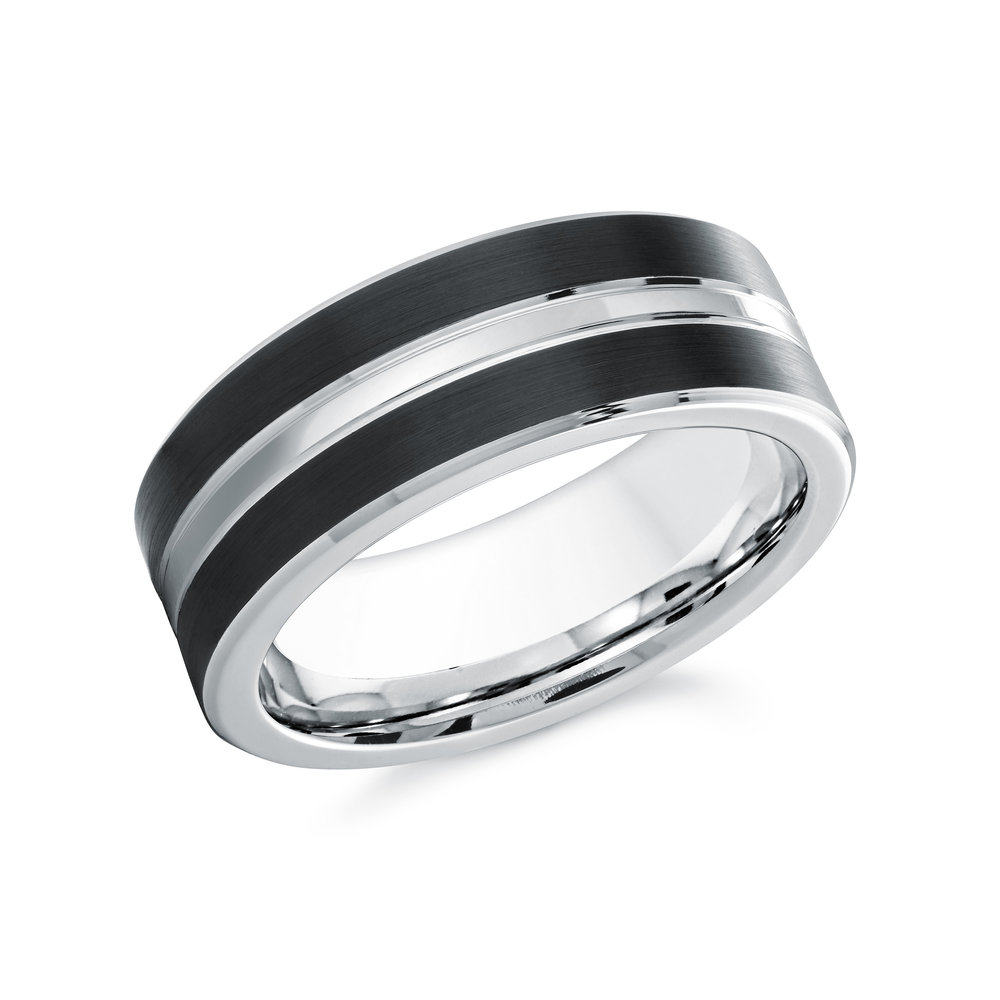 Black/White Gold Men's Ring Size 8mm (CB-022)