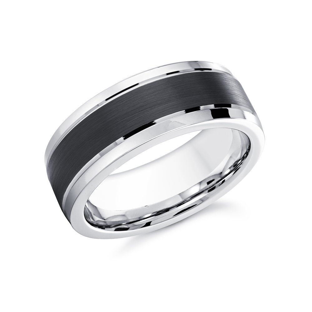 White/Black Gold Men's Ring Size 8mm (CB-023)