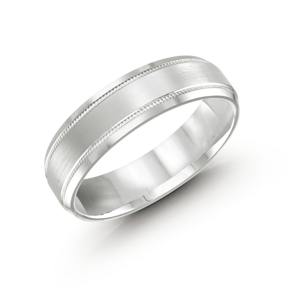 White Gold Men's Ring Size 6mm (LUX-413-6W)