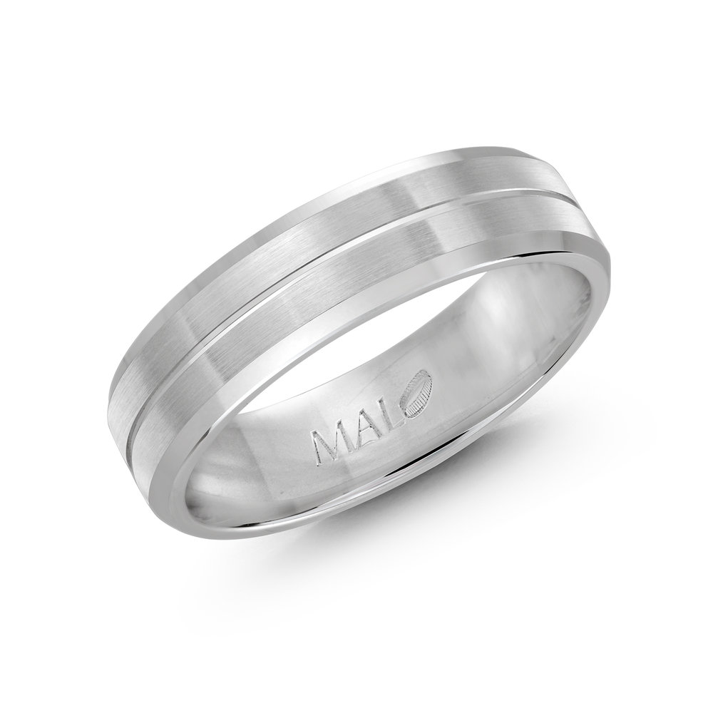 White Gold Men's Ring Size 6mm (LUX-697-6W)