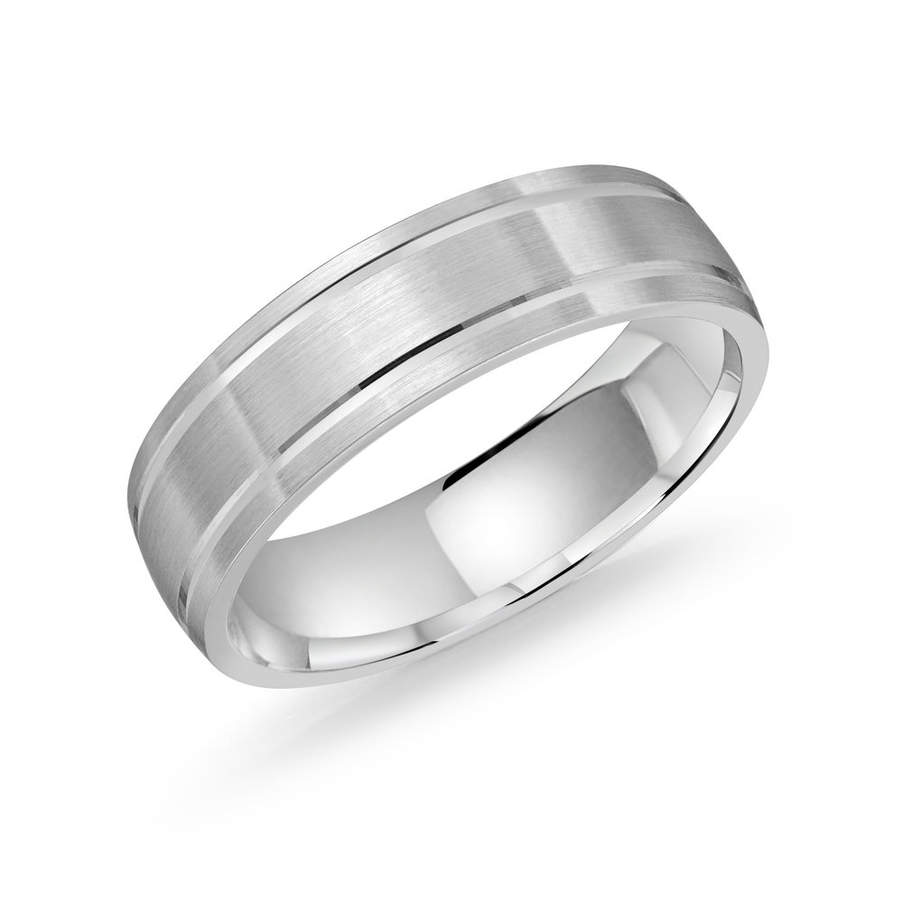 White Gold Men's Ring Size 6mm (LUX-976-6W)