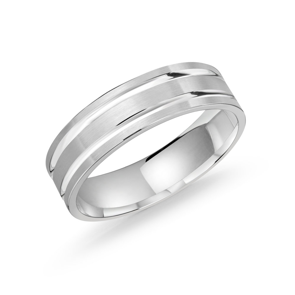 White Gold Men's Ring Size 6mm (LUX-986-6W)