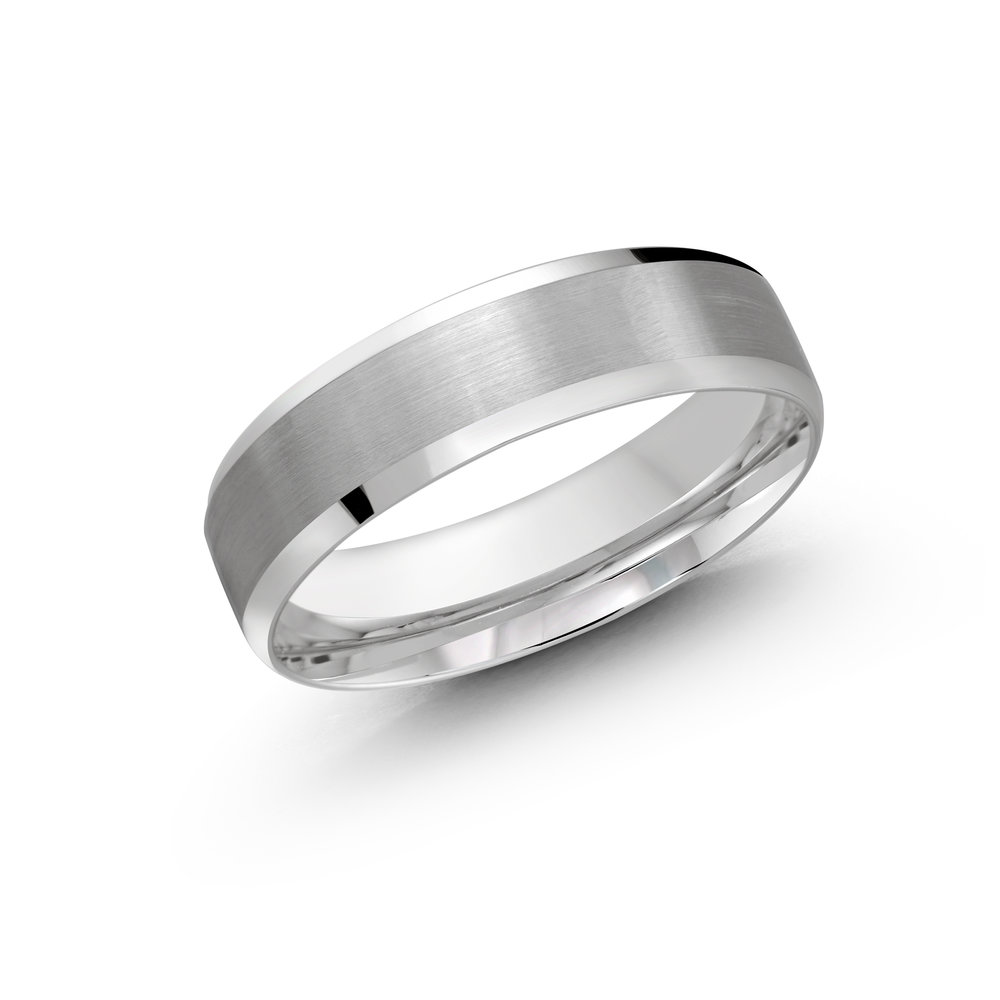 White Gold Men's Ring Size 6mm (LUX-1105-6W)