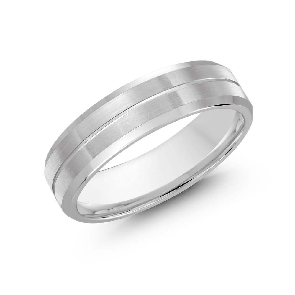 White Gold Men's Ring Size 6mm (CB-697-6W)