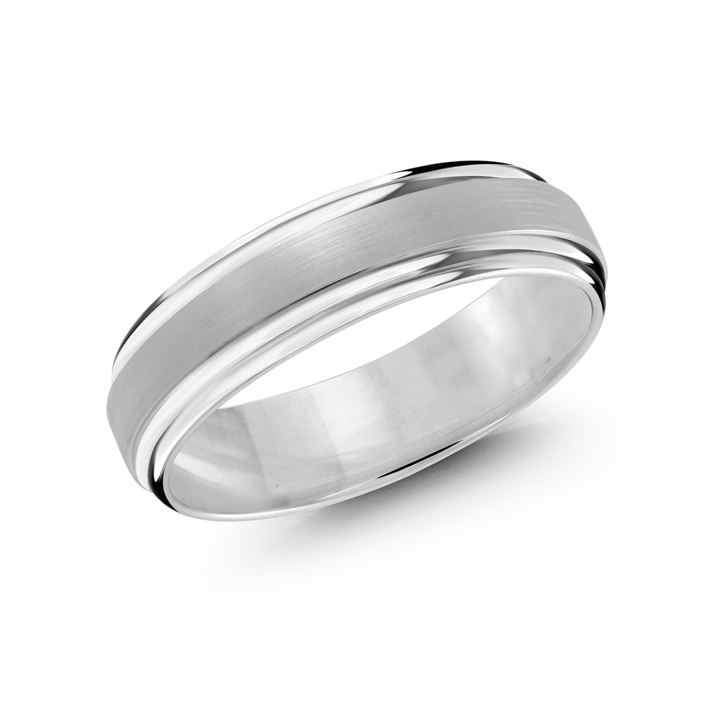 White Gold Men's Ring Size 6mm (CB-058-6W)