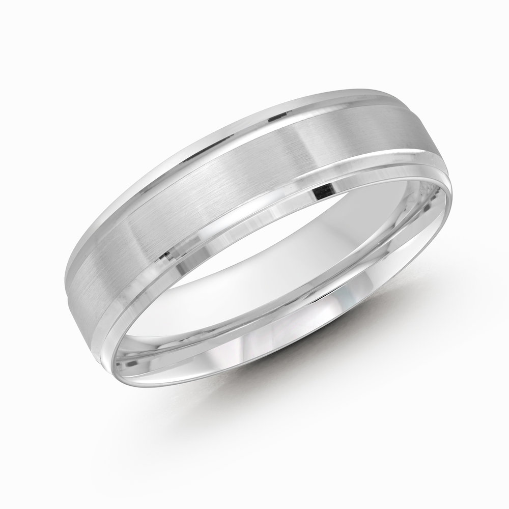 White Gold Men's Ring Size 6mm (CB-411-6W)