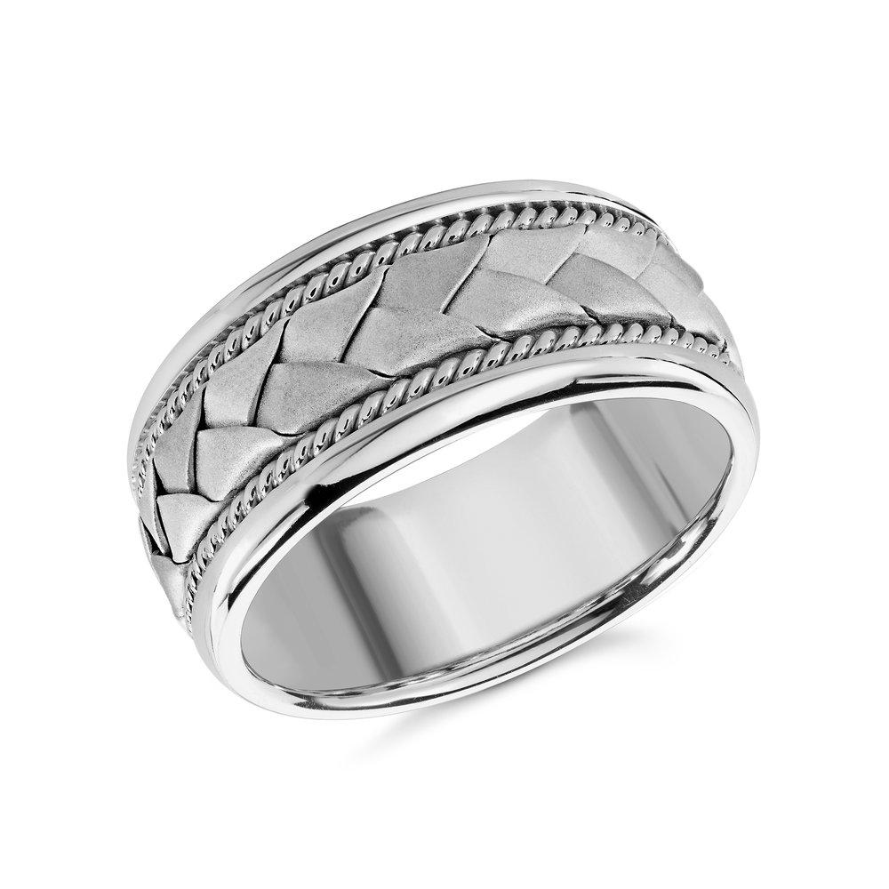 White Gold Men's Ring Size 10mm (MRD-060-10W)