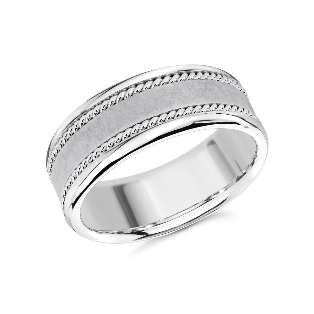 White Gold Men's Ring Size 8mm (MRD-065-8W)