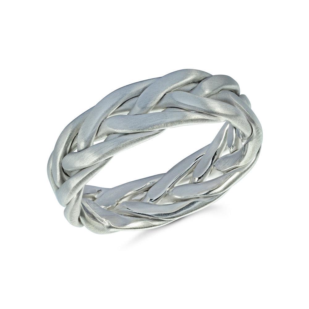 White Gold Men's Ring Size 6mm (MRD-077-7W)