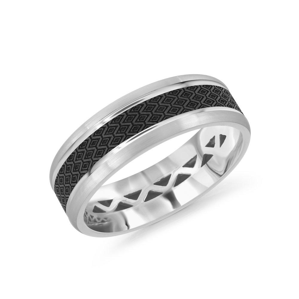 White Gold Men's Ring Size 7mm (MRDA-021-7W)