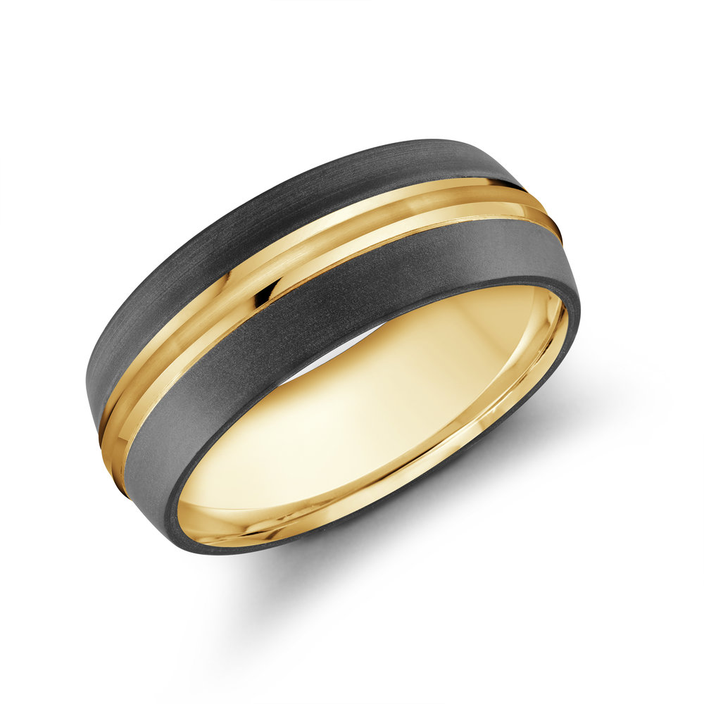 Yellow Gold Men's Ring Size 8mm (MRDA-026-8Y)