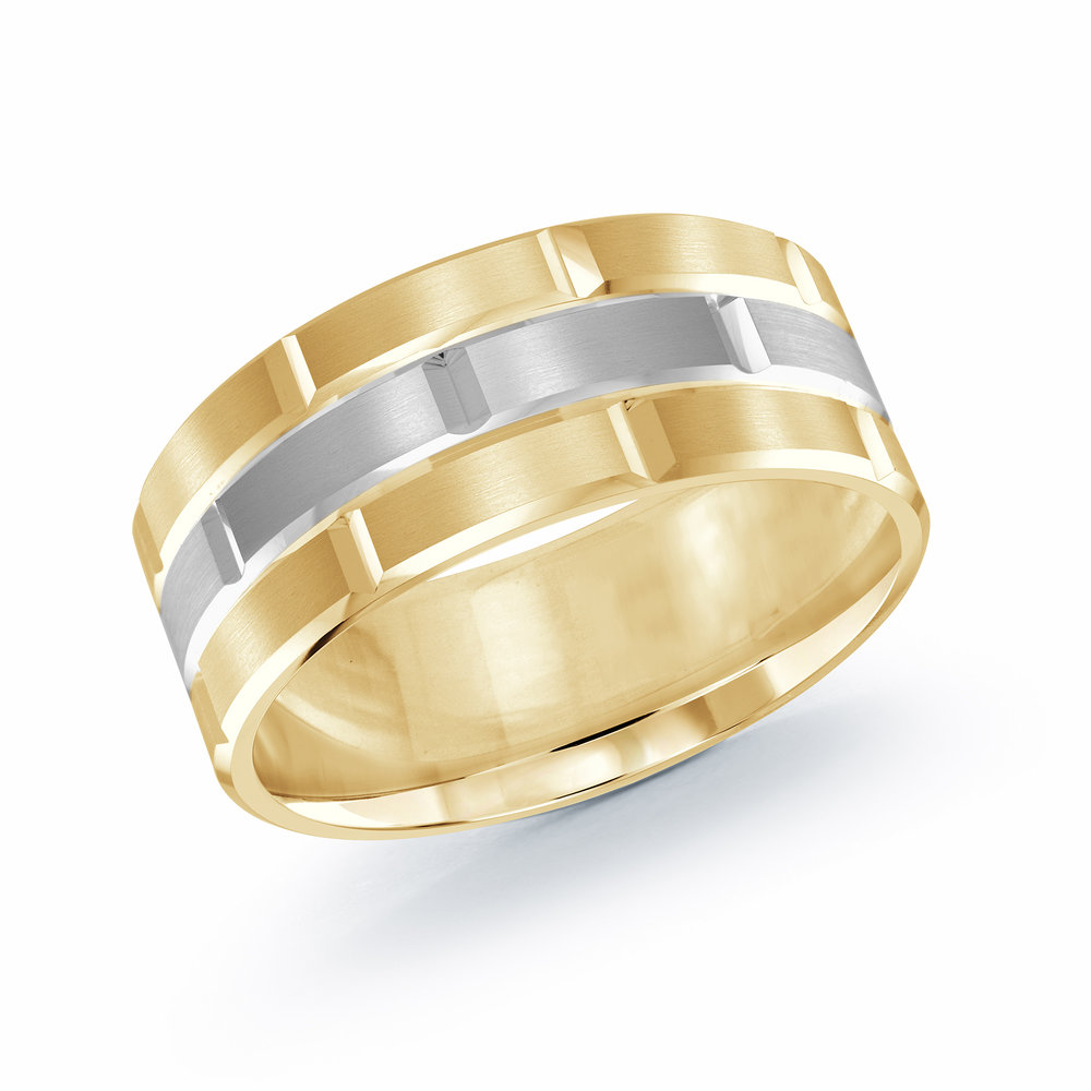 Yellow/White Gold Men's Ring Size 9mm (FJM-002-9YW)