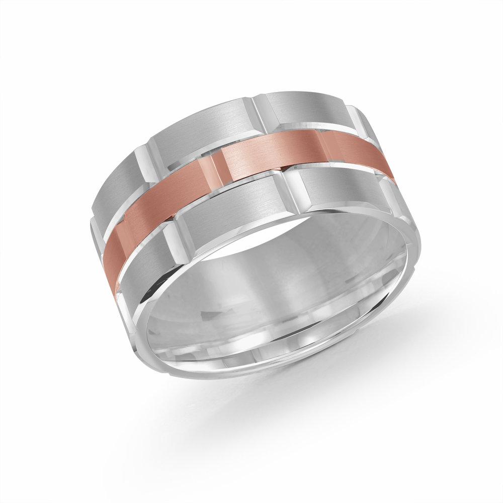 White/Pink Gold Men's Ring Size 11mm (FJM-002-11WP)
