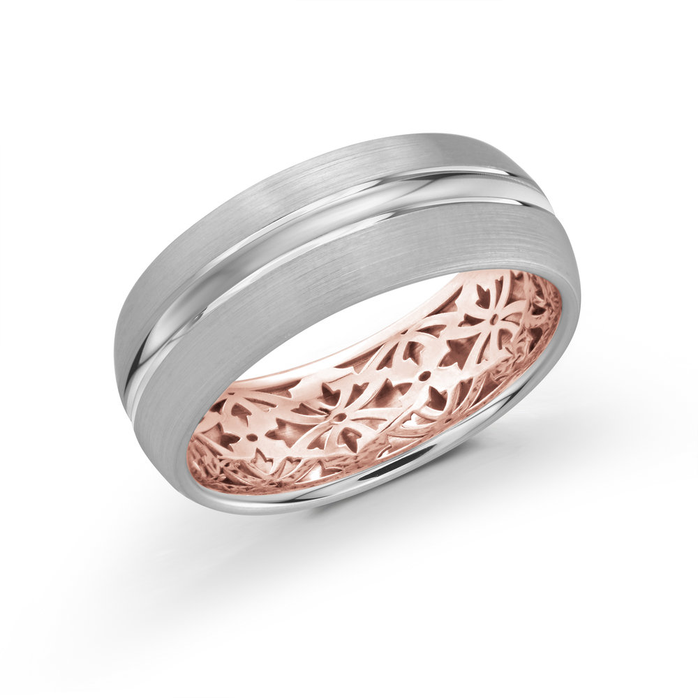 White/Pink Gold Men's Ring Size 8mm (FJM-017-8WZP)