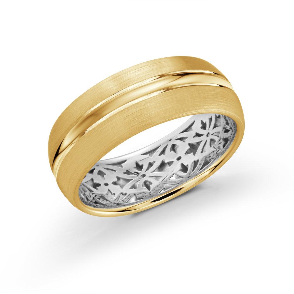Yellow/White Gold Men's Ring Size 8mm (FJM-017-8YZW)