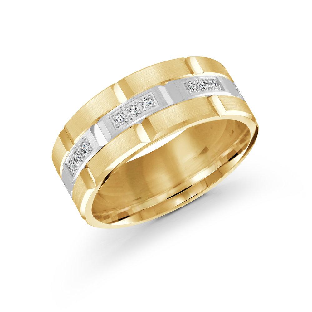 Yellow/White Gold Men's Ring Size 9mm (FJMD-002-9YW36)
