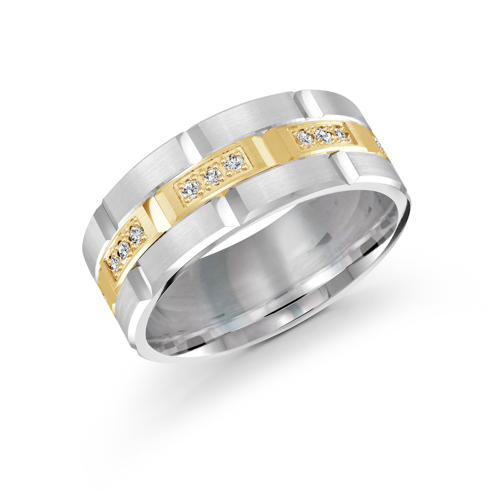 White/Yellow Gold Men's Ring Size 9mm (FJMD-002-9WY36)