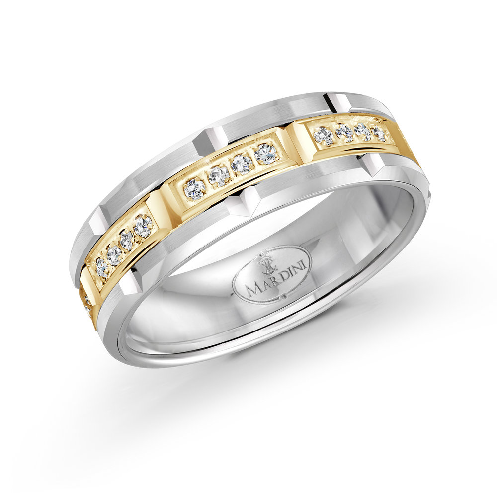 White/Yellow Gold Men's Ring Size 7mm (FJMD-073-7WY32)