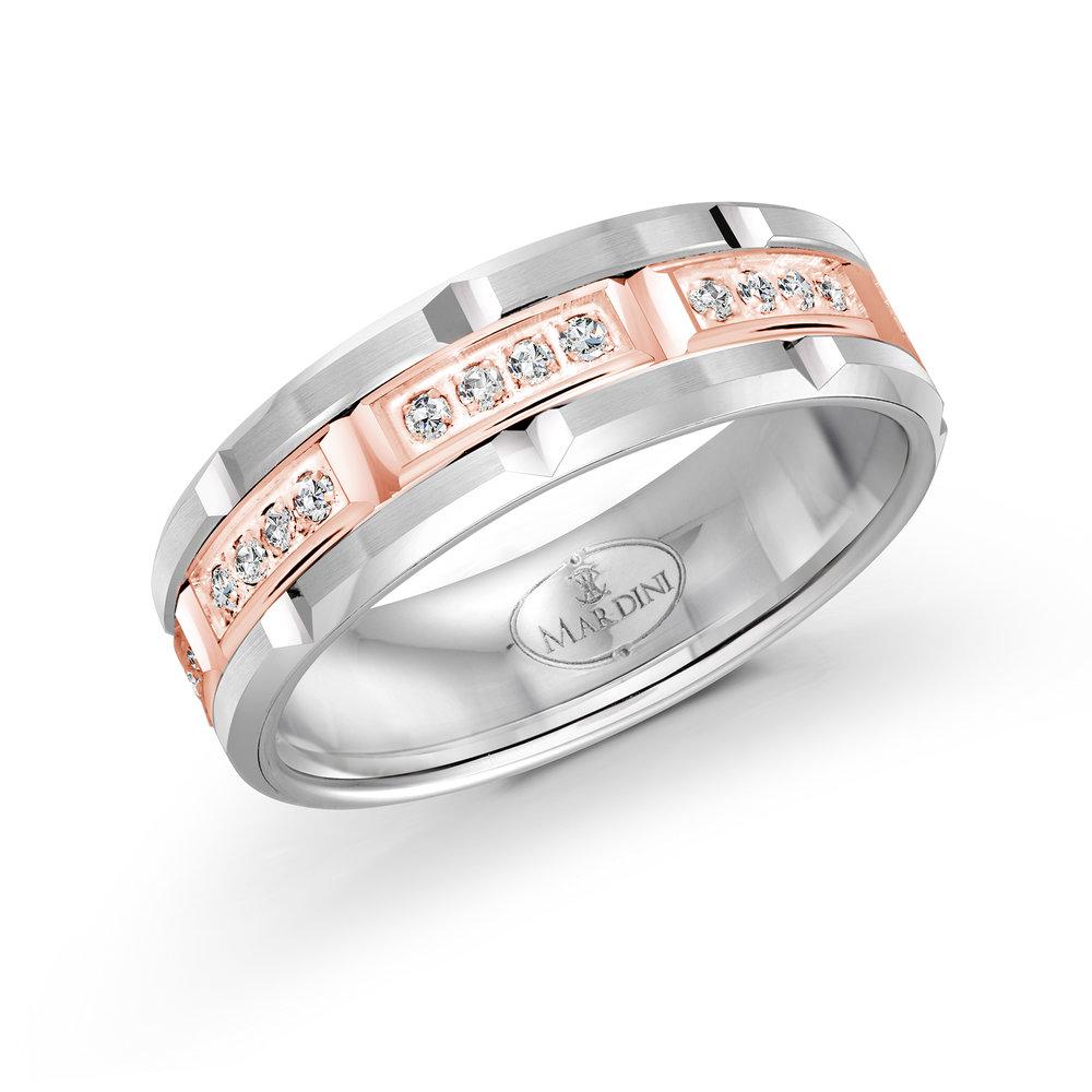 White/Pink Gold Men's Ring Size 7mm (FJMD-073-7WP32)