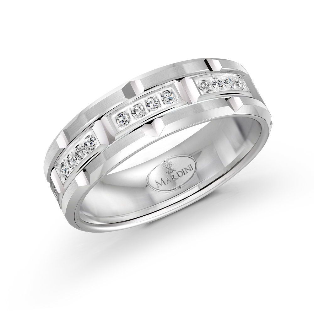 White Gold Men's Ring Size 7mm (FJMD-073-7W32)