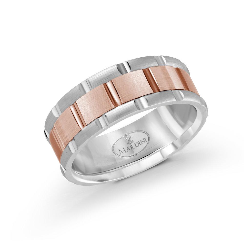 White/Pink Gold Men's Ring Size 8mm (MRD-044-8WP)