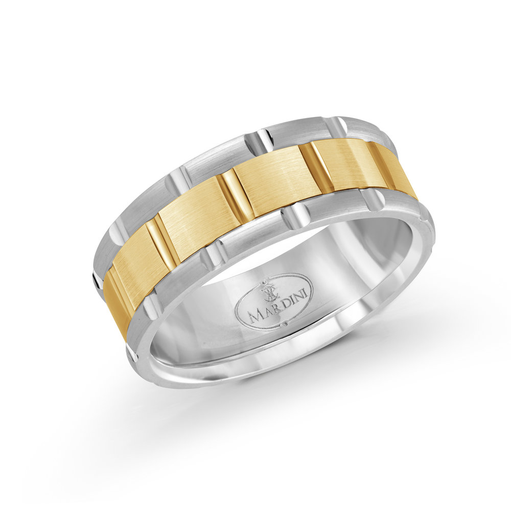 White/Yellow Gold Men's Ring Size 8mm (MRD-044-8WY)