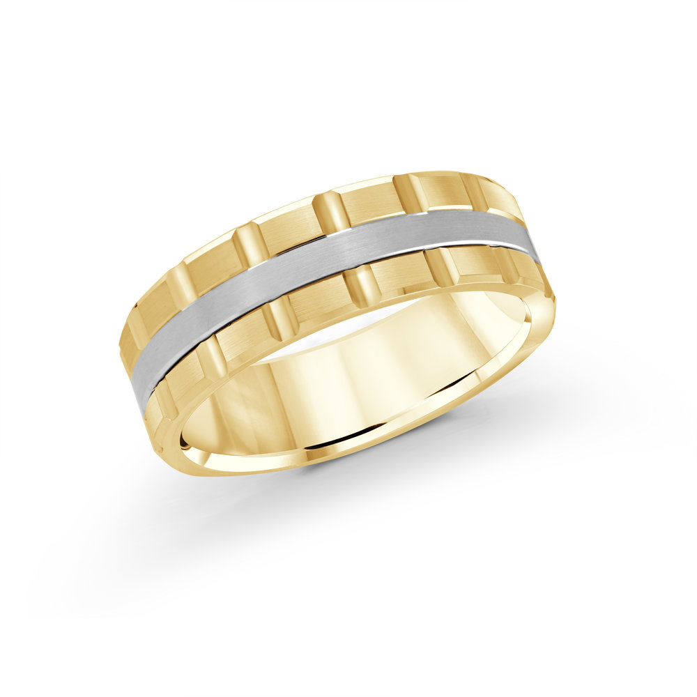 Yellow/White Gold Men's Ring Size 7mm (MRD-045-7YW)