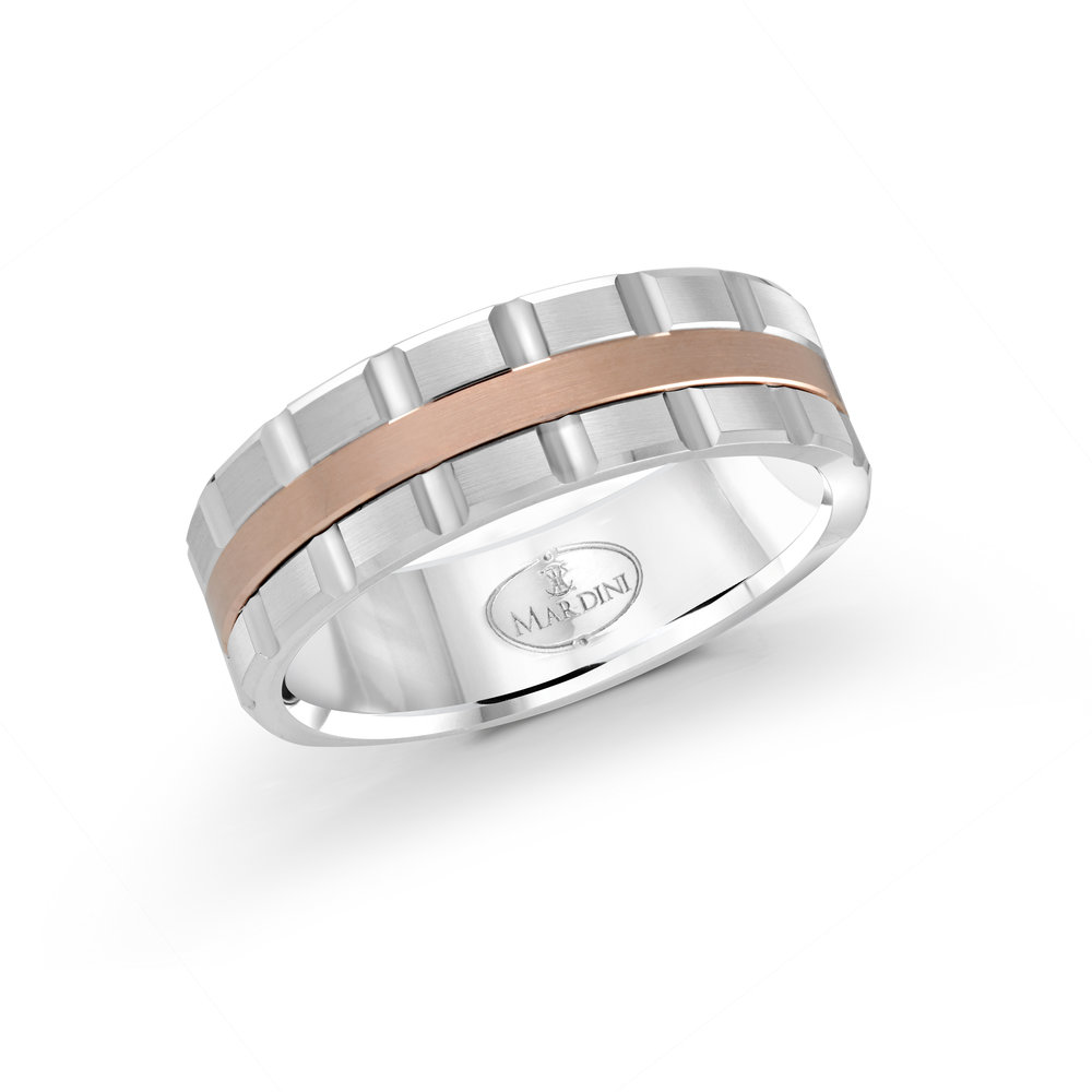 White/Pink Gold Men's Ring Size 7mm (MRD-045-7WP)