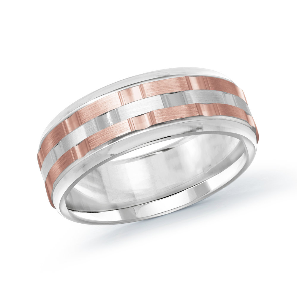 White/Pink Gold Men's Ring Size 8mm (MRD-083-8WP)