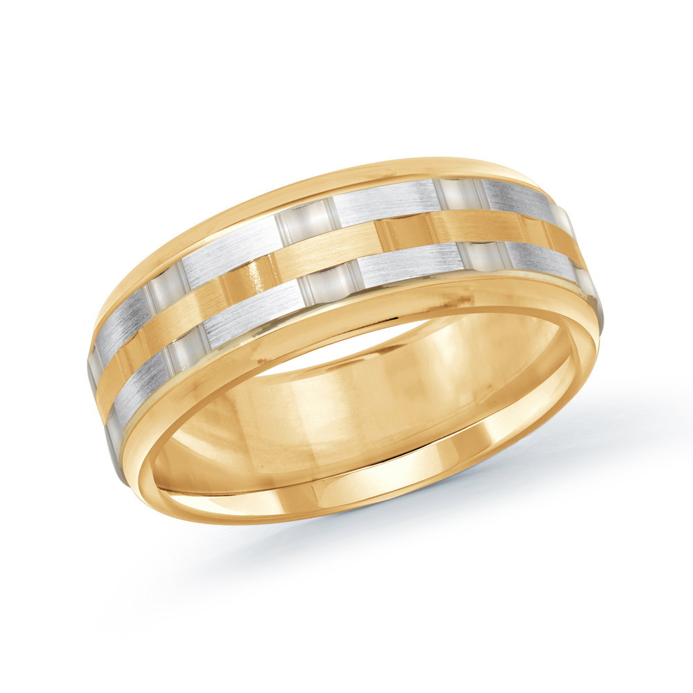 Yellow/White Gold Men's Ring Size 8mm (MRD-083-8YW)