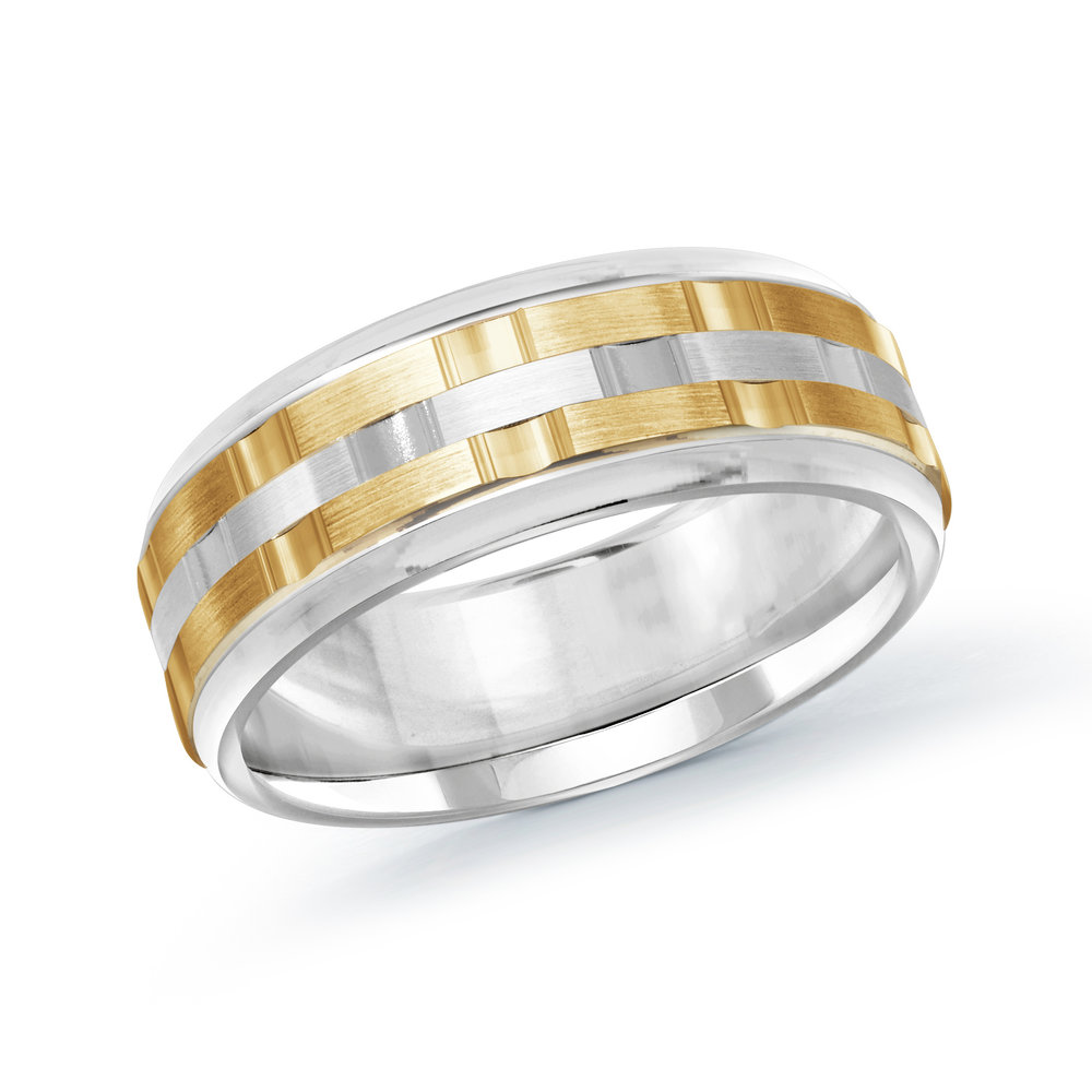 White/Yellow Gold Men's Ring Size 8mm (MRD-083-8WY)