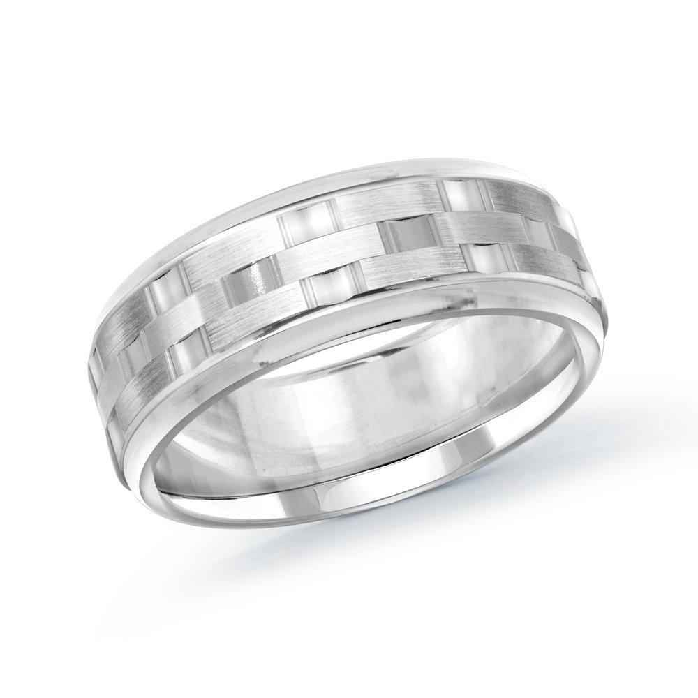 White Gold Men's Ring Size 8mm (MRD-083-8W)