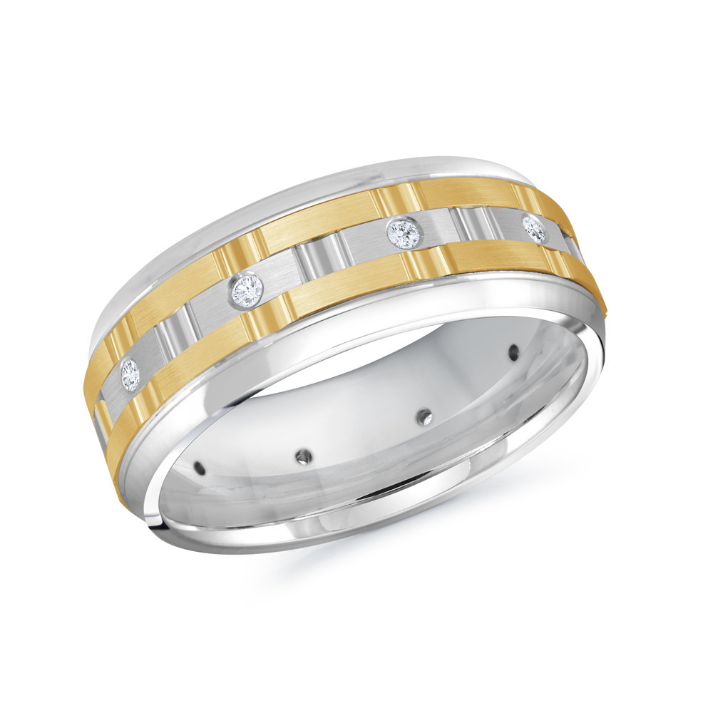 White/Yellow Gold Men's Ring Size 8mm (MRD-086-8WY15)