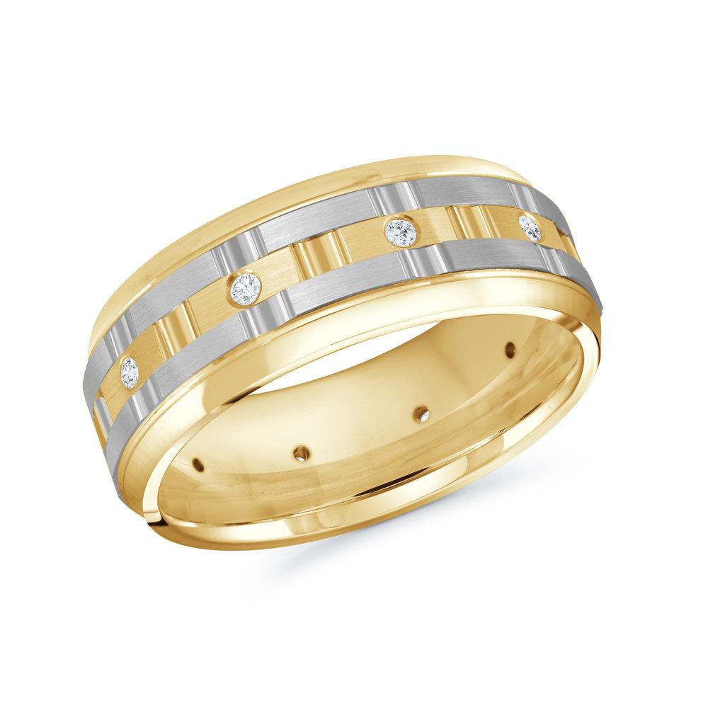 Yellow/White Gold Men's Ring Size 8mm (MRD-086-8YW15)