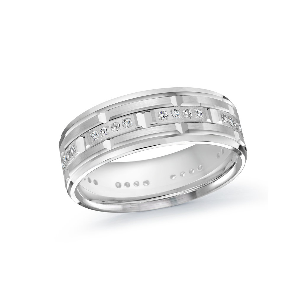 White Gold Men's Ring Size 7mm (MRD-087-7W32)