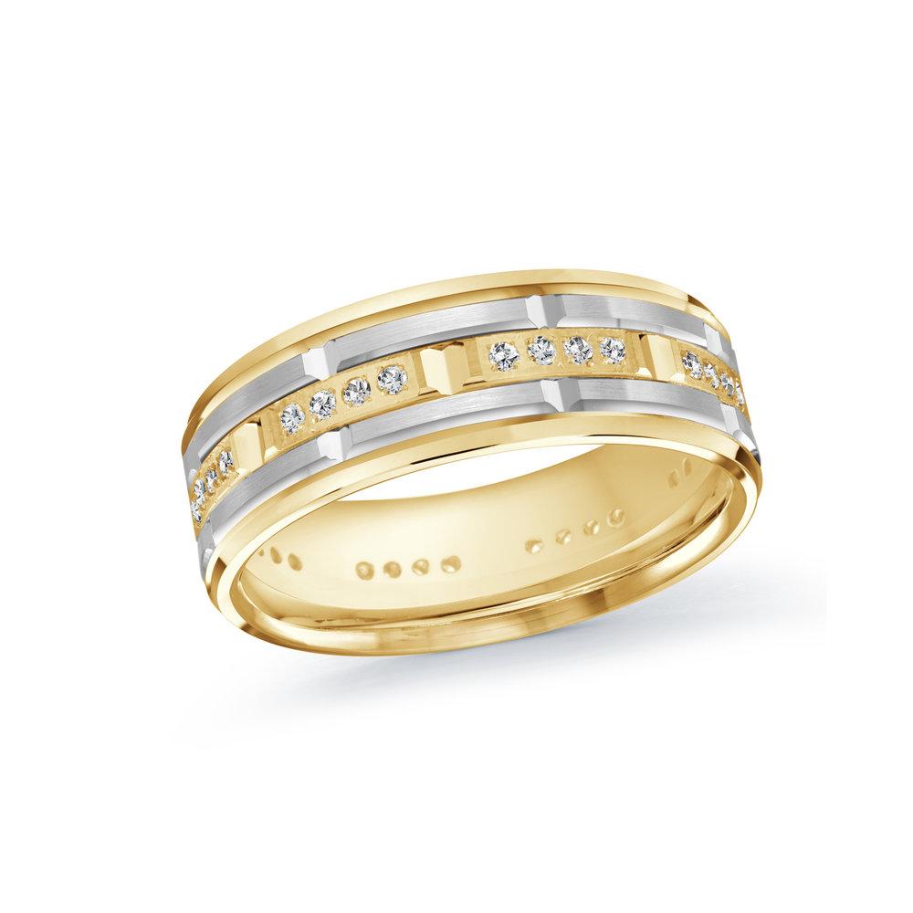 Yellow/White Gold Men's Ring Size 7mm (MRD-087-7YW32)