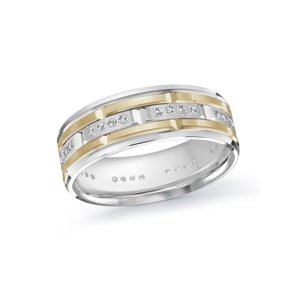 White/Yellow Gold Men's Ring Size 7mm (MRD-087-7WY32)